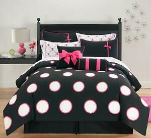 VCNY-Home-Sophie-Polka-Dot-10-Piece-Bed-in-a-Bag-Comforter-Set-Full-Black-Pink