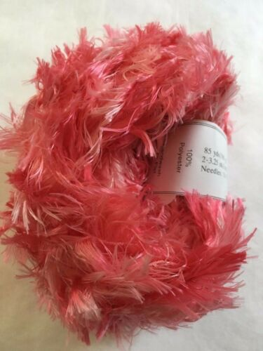 Crystal Palace Splash #9219 Strawberry Soda Pinks Feather Boa Eyelash Yarn 100gr