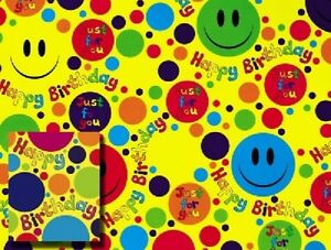 Image Is Loading SMILEY EMOJI GIFT WRAP 2 SHEETS OF