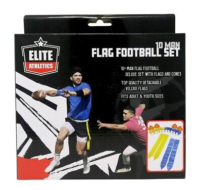 Elite Athletics 10 Man Flag Football Set for Adults and Youth w// Flags and Cones