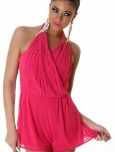 Sexy-Ladies-Clubbing-Shorty-Overall-Trousers-Jumpsuit-34-36-38-Pink