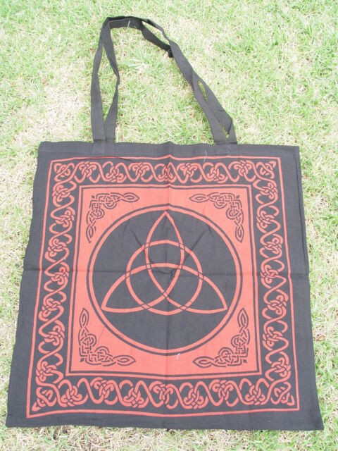RED TRIQUETRA COTTON TOTE BAG 460 x 440mm + Strap Wicca Pagan Witch