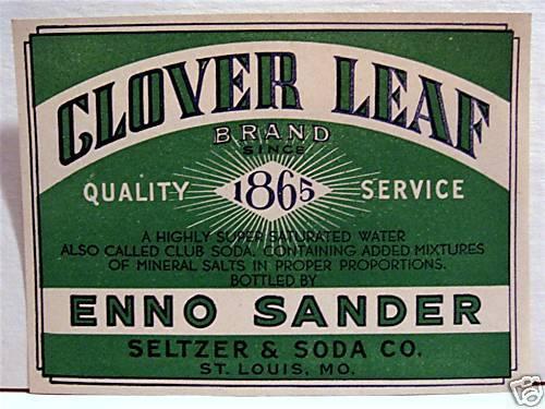 Vintage Clover Leaf Enno Sander Soda Label St Louis Mo