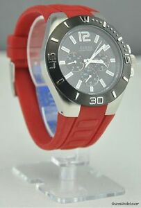 New-prime-red-watch-guess-multifunction-new-mens-u11573g2