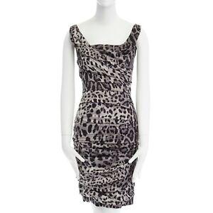 DOLCE-GABBANA-grey-leopard-print-silk-ruched-bodycon-party-dress-IT38-XS