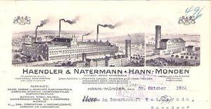 Haendler-amp-Natermann-Hannoversch-Muenden-hist-Rechnung-1929-Barnkrug-Drochtersen