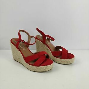 WOMENS-TRUFFLE-RED-FAUX-SUEDE-ANKLE-STRAP-STRAW-HEEL-WEDGE-SANDALS-UK-4-EU-37