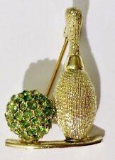 rare broche vintage couleur or pale quille et boule de bowling strass vert 3415