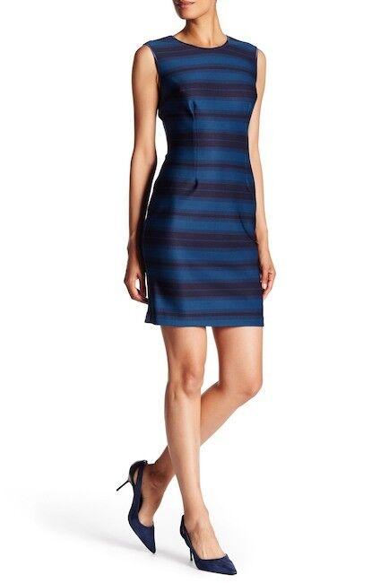 Andrew Marc NWT Elegant TEAL NAVY Stripe Scuba Sheath Dress,size 8 10