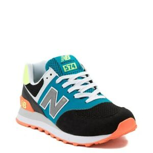 NEW New Balance 574 Black w Teal Lace-up Sneakers Women 6, Boys ...