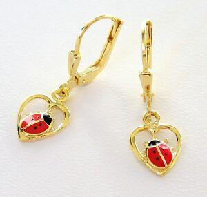 Aufrichtig Kinderschmuck Kinder Ohrringe Ohrhänger 585 Gold Marienkäfer Im Herz Neueste Technik