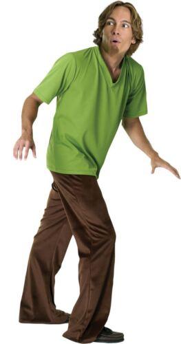 Mens Shaggy Scooby Doo Cartoon Fancy Dress Costume /& Wig