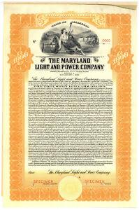 Maryland-Light-and-Power-Company-SPECIMEN-Bond-Certificate