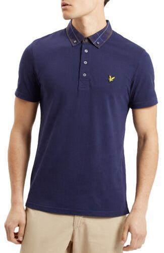 Lyle /& Scott Mens Casual Short Sleeve Cotton Polo Shirt Smart Check Collar Navy