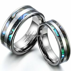 Tungsten-Carbide-Abalone-Shell-Stripe-Men-039-s-Women-039-s-Ring-Couple-039-s-Wedding-Band