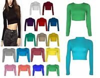 WOMENS ROUND NECK LONG SLEEVE CROP TOP T SHIRT POLO NECK CROP TOP SIZE 8-14