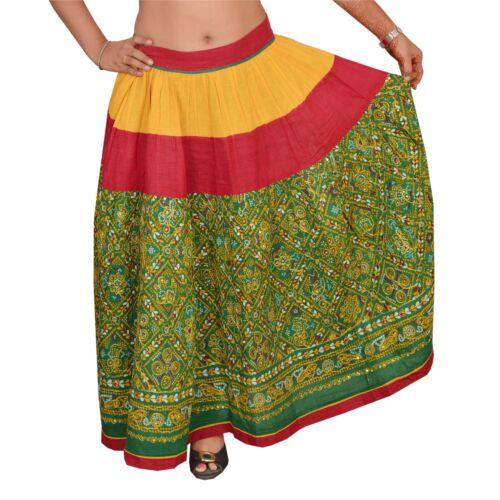Tcw  Vintage Hand Beaded Lehenga Cotton  Skirt Gre