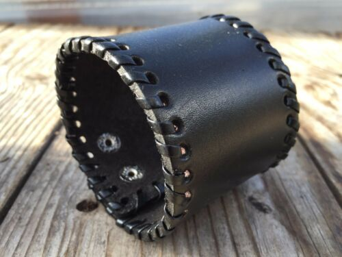 Punk Men Women Wide Genuine Leather Belt Bracelet Cuff Wristband Bangle USA