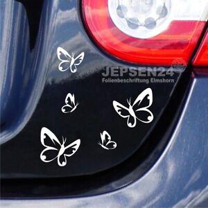 Aufkleber-5-Schmetterlinge-S116-Autoaufkleber-Farbe-nach-Wunsch