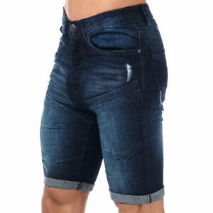 Homme-Crosshatch-Keasy-Denim-Shorts-En-Bleu-Fonce-Bouton-Fly-effet-vieilli-Detail