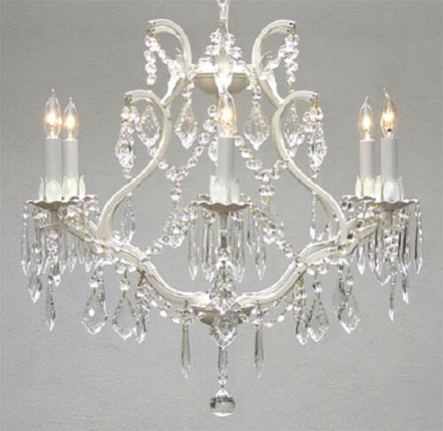 6 LIGHT SHABBY CRYSTAL WHITE WROUGHT IRON CHANDELIER