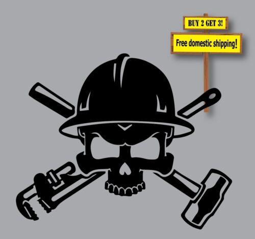 Welder Metal Worker Skull /& Crossbones Construction Decal//Sticker Miller Lincoln