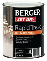 Berger Jet Dry Rapid Tread Paint 1l Oil Based Gloss For Driveways–white Or Black