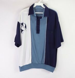 Vintage-80s-Mens-Large-Abstract-Print-Short-Sleeve-Golf-Polo-Shirt-Blue-Cotton