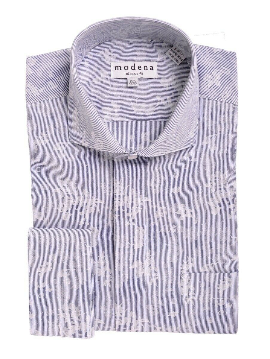 Herren Blau & Weiß Blaumännermuster Umschlagmanschette Baumwollmischung Kleid Hemd