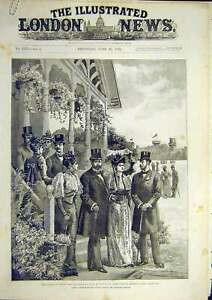 Old-Antique-Print-1892-Warwick-Show-Prince-Wales-Duke-York-Church-Station-19th
