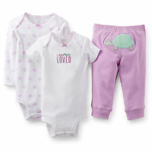 Carters-Baby-Girls-2-pack-Bodysuits-amp-Pants-Set-Clothes-GBC-670-Turtle-12-mos