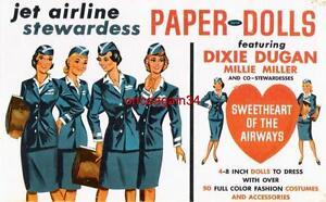 VINTAGE UNCUT 1950's JET AIRLINE STEWARDESS PAPER DOLLS~#1 REPRODUCTION~SCARCE!