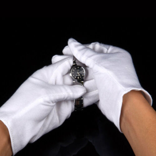 6 PCS Long White Cotton Lint-Free Inspection Gloves Coin Jewelry Small//Medium
