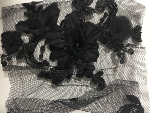 LX01 heavy beaded 3D flower corded lace sold as fabric sample or by 1//2 yard