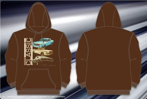 """Ford Mustang Pullover Hoodie Mens Sweatshirt Brown Jacket Classic Cars /""""SALE/"""""""