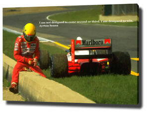 Details About Ayrton Senna Canvas Painting 30 X20 Wall Art Print F1 Motivational Quote