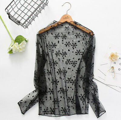 Women Hollow Mesh Net T-Shirt Long Sleeve Tee Tops Transparent Blouse Clubwear