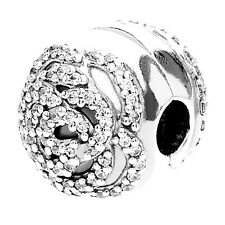 Authentic Pandora Silver Sterling Shimmering Rose Clip Charm 791529CZ