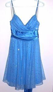 Jessica-Size-14-Blue-Spaghetti-Strap-Dress-Sparkle-with-Ribbon-Tie-Back