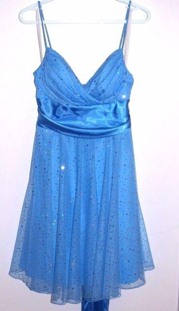 Jessica Size 14 Blue Spaghetti Strap Dress Sparkle with Ribbon Tie Back