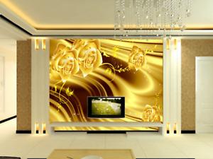 3D gold Petal 525 Wallpaper Murals Wall Print Wallpaper Mural AJ WALL AU Kyra