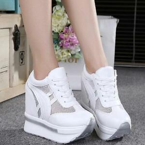 f18a6b2cd3ef Women s Wedge High Heel Platform Fashion Sneakers Lace Up Athletic ...