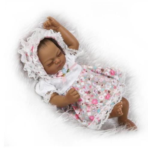 11/'/' Lifelike Full Silicone Vinyl African American Reborn Baby Girl Newborn Doll