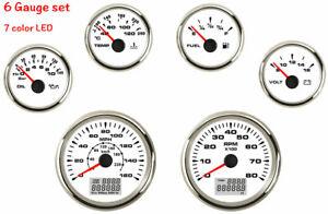 6-Gauge-Set-With-Sender-Speedo-Tacho-Fuel-Temp-Volt-Oil-7-Color-LED-160MPH-White