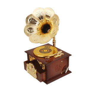 Mini-Antique-Look-Wind-Up-Gramophone-Melody-Play-Music-Box-Clockwork-Gift