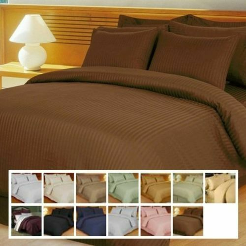 1000 TC Egyptian Cotton Deep Pkt Fitted Sheet Bedding Item Chocolate Striped