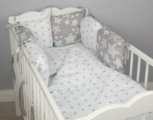 CASES grey stars white 8 pc cot //cot bed bedding sets PILLOW BUMPER filled