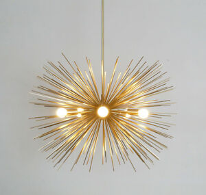 Mid century modern brass urchin chandelier 5 bulb sputnik ceiling image is loading mid century modern brass urchin chandelier 5 bulb mozeypictures Image collections