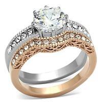 3.5 Ct Anillos De Acero Para Compromiso Y De Bodas Y Promesa Y Matrimonio 2tonos