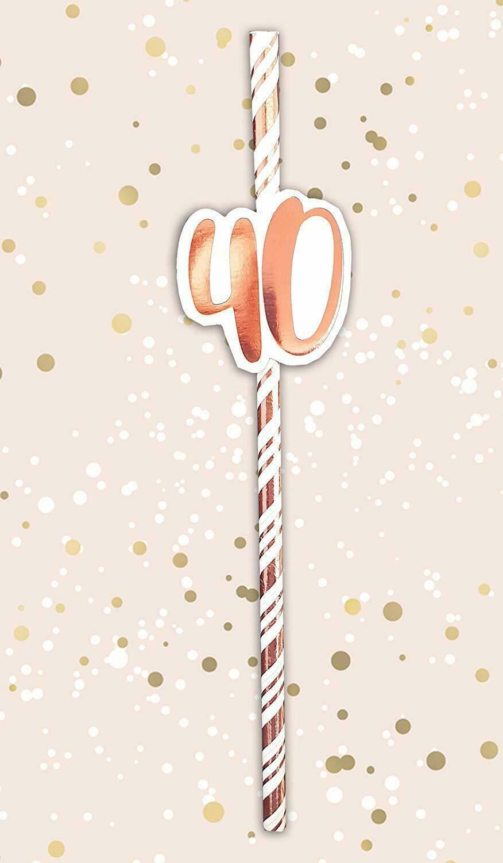 Paquete De 12  oro metálico y crema de Pajitas de papel 40th Cumpleaños